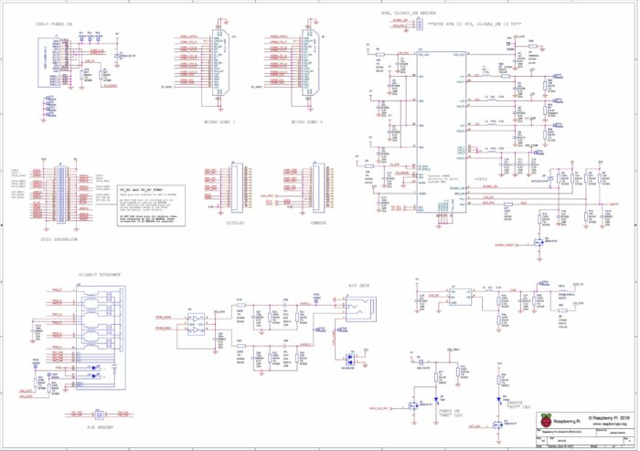 Raspberry Pi 4 B Pinout Schematic