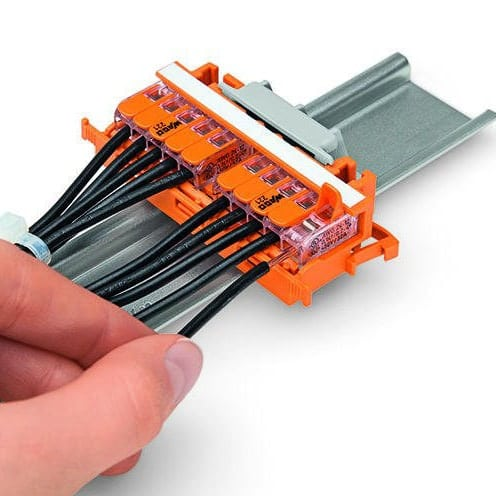 Wago 221-500 Conductor Termination with Connectors Fitted in Mounting Carrier