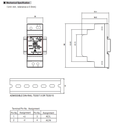 Meanwell HDR-30-5 Power Supply Dimensions