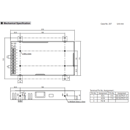 Meanwell LRS-200-24 Power Supply Dimensions