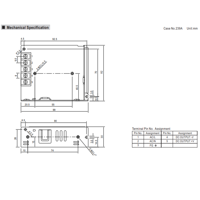 Meanwell LRS-35-12 Power Supply Dimensions