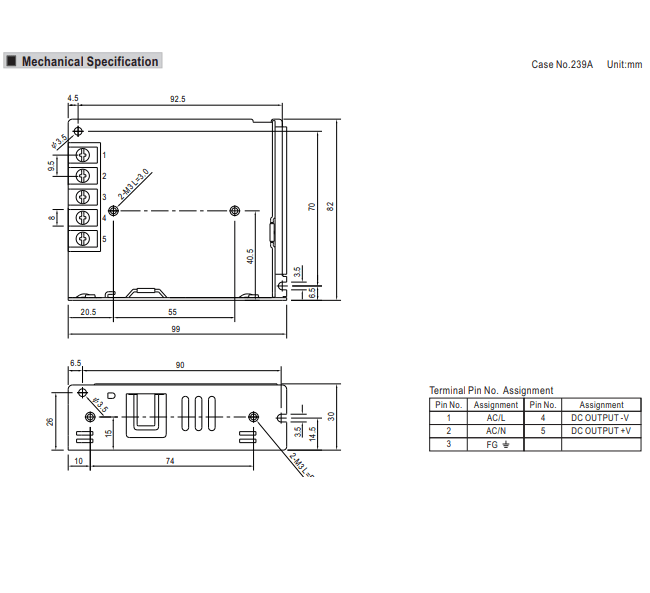 Meanwell LRS-35-5 Power Supply Dimensions